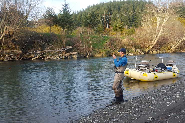 An angler hooked up on one of our coastal Oregon steelhead rivers.