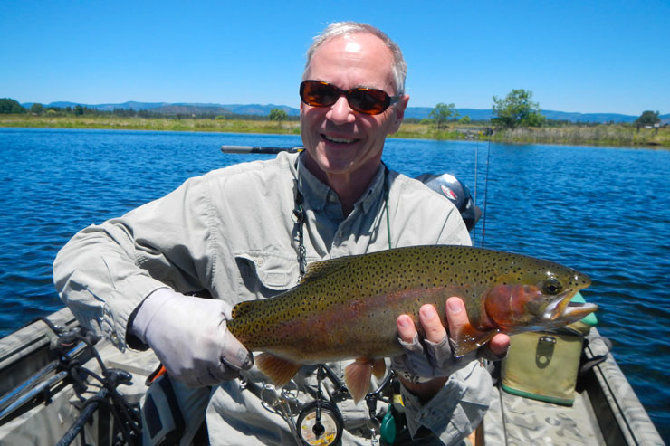 An angler with a stout Fall River rainbow trout