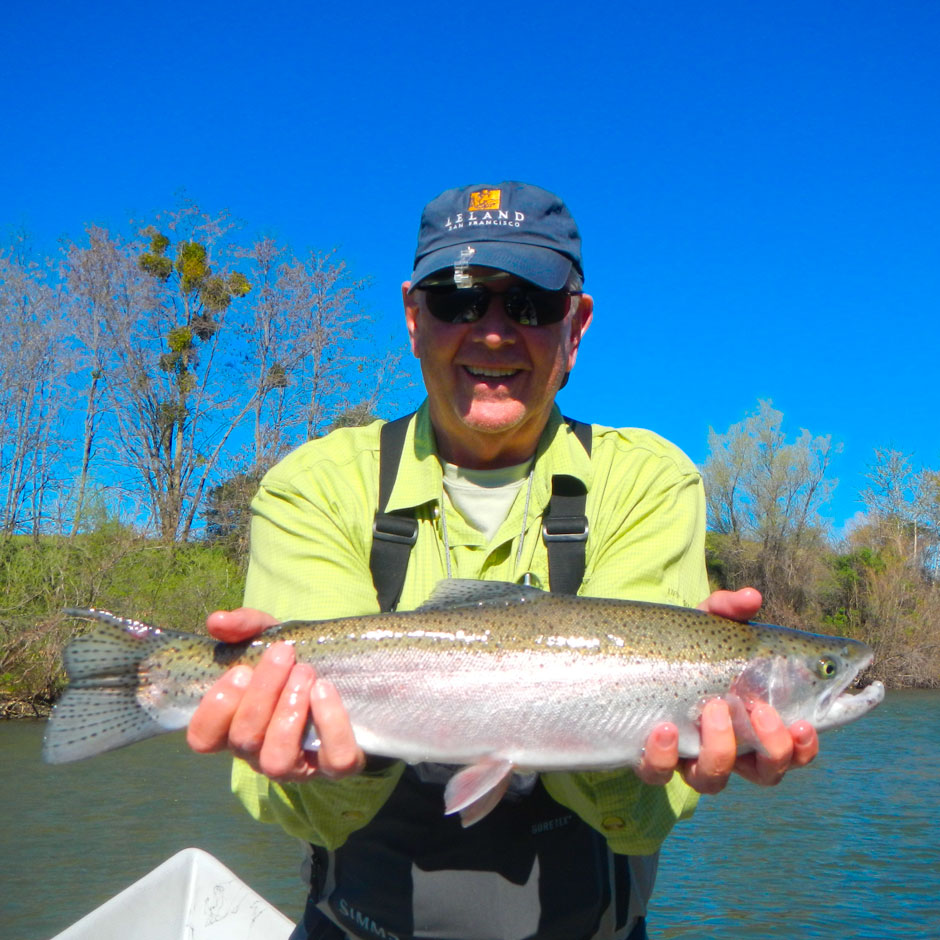 An angler with a spring steelhead from the Lower Feather River