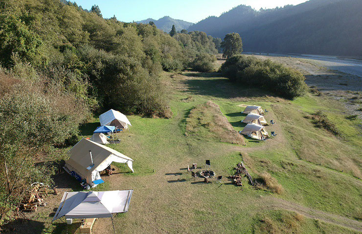 An aerial view of our remote jet-boat camp on the lower Klamath River