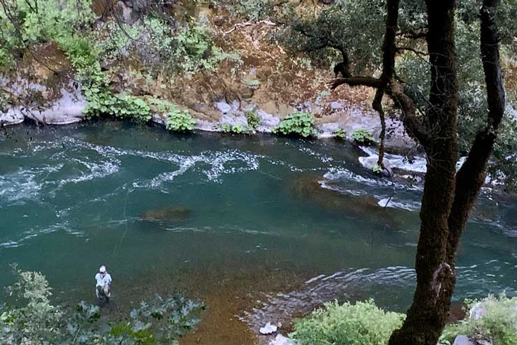 The McCloud has deep pools that harbor large trout