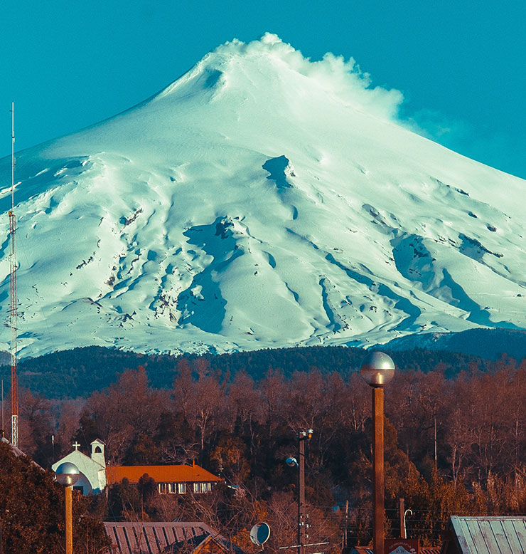 Mt Shasta looms over downtown Mt Shasta City