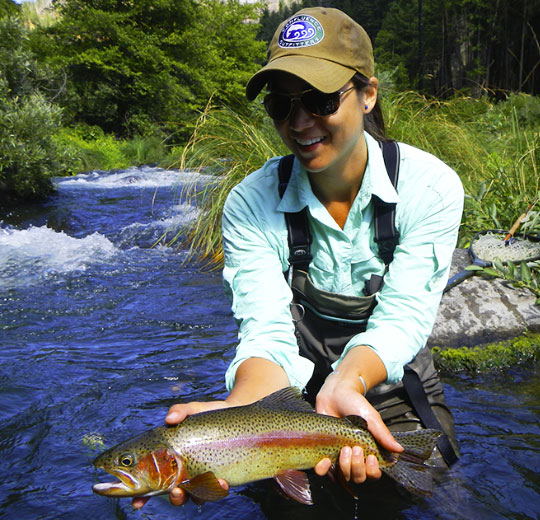 Guide Leslie Ajari with a nice Rainbow Trout on the Pit River