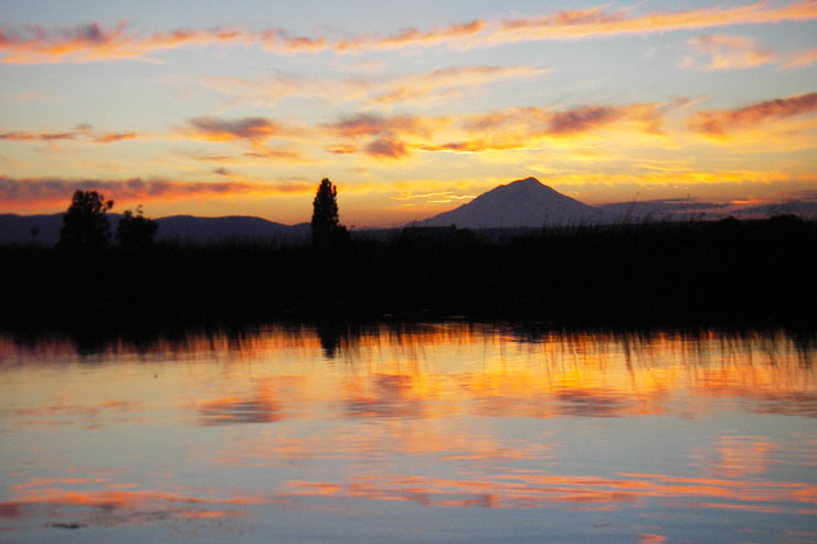 Fall River is famous for beautiful sunsets over Mt Shasta