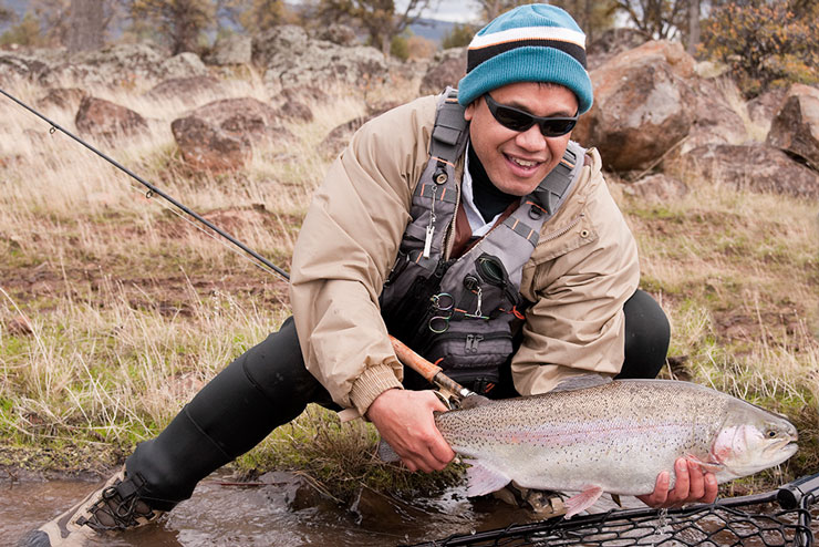 Releasing a big rainbow at Eagle Canyon.